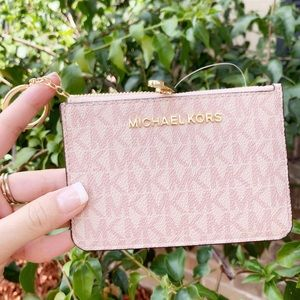 👛💕Michael Kors Top Zip Coin Pouch ID Holder Pink